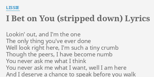 I bet on you lyrics hewitt ferrer betting sites