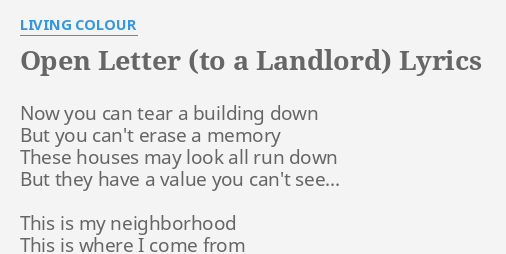 OPEN LETTER (TO A LANDLORD)
