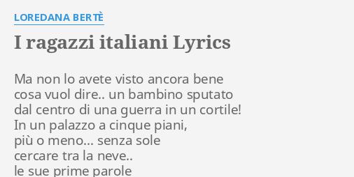 I ragazzi italiani già venivan su