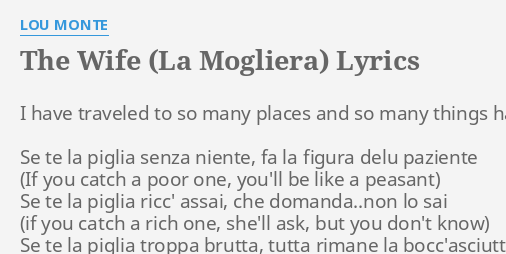 the wife la mogliera lyrics by lou monte i have traveled to - Dominick The Christmas Donkey Lyrics