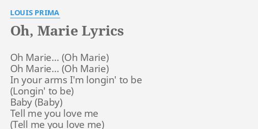 parole chanson oh marie