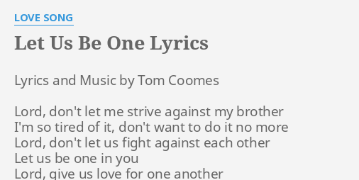 let us love one another song lyrics