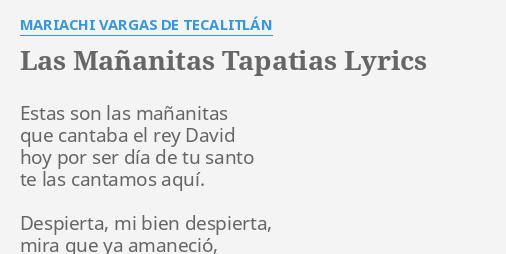Las Mananitas Tapatias Lyrics By Mariachi Vargas De Tecalitlan