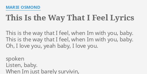 I feel this way lyrics