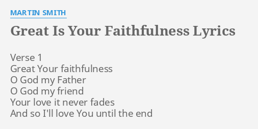GREAT IS YOUR FAITHFULNESS\