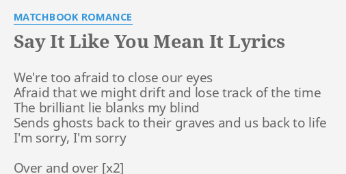 SAY IT LIKE YOU MEAN LYRICS By MATCHBOOK ROMANCE Were Too Afraid To