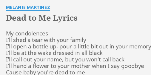 dead to me lyrics