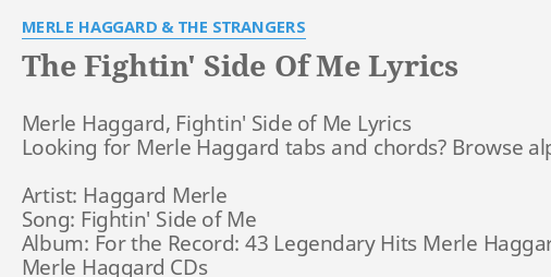 The Fightin Side Of Me Lyrics By Merle Haggard The Strangers