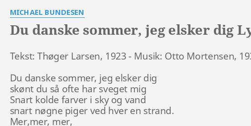 Elsker du dig danske sommer chords jeg Du Danske