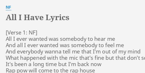 All i have lyrics nf