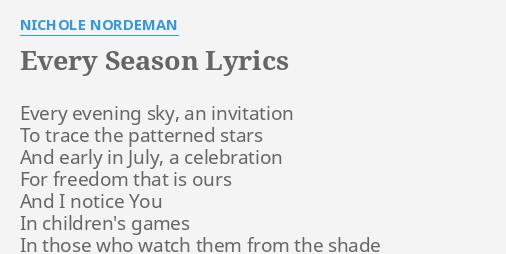 Every season lyrics by nichole nordeman every evening sky an every season lyrics by nichole nordeman every evening sky an stopboris Images