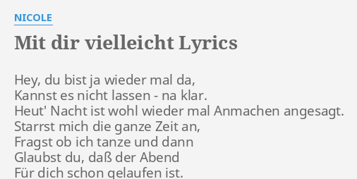 An mich denkst mal du auch lyrics vielleicht NENA