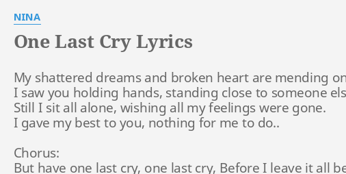 One last cry nina lyrics