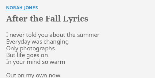 After the fall norah jones lyrics