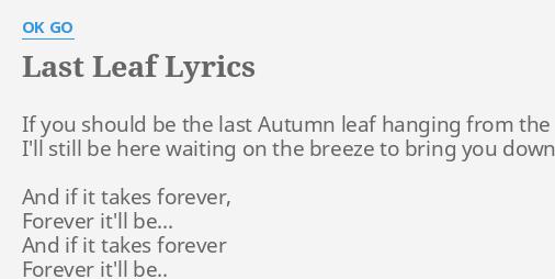 last leaf down lyrics