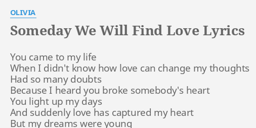 when i find love