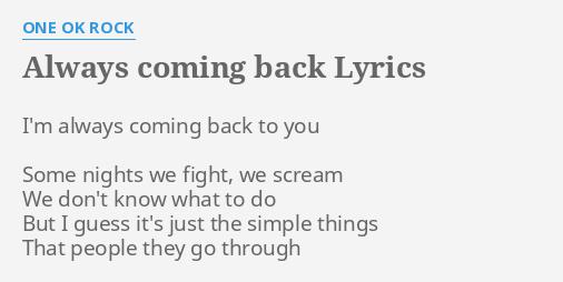 I always come back to you lyrics