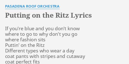 Taco - Puttin' On The Ritz Lyrics MetroLyrics