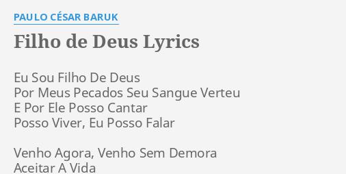 Filho De Deus Lyrics By Paulo César Baruk Eu Sou Filho De