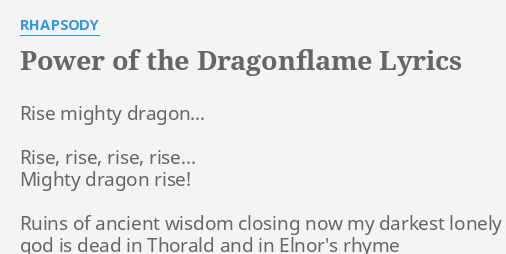 power of the dragonflame lyrics by rhapsody rise mighty dragon