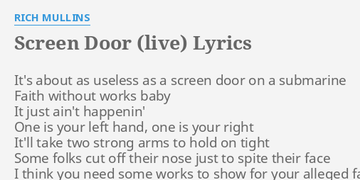 SCREEN DOOR (LIVE)