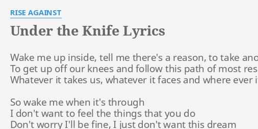 under the knife lyrics by rise against wake me up inside