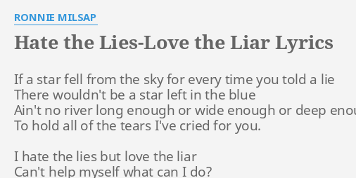 HATE THE LIES-LOVE THE LIAR