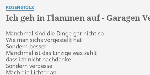 Ich Geh In Flammen Auf Garagen Version Lyrics By Rosenstolz Manchmal Sind Die Dinge