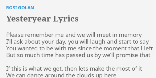 Then you ll remember me lyrics