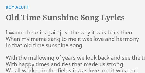 JAYNE: Sunshine old song