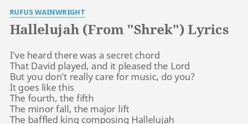 Hallelujah From Shrek Lyrics By Rufus Wainwright Ive Heard
