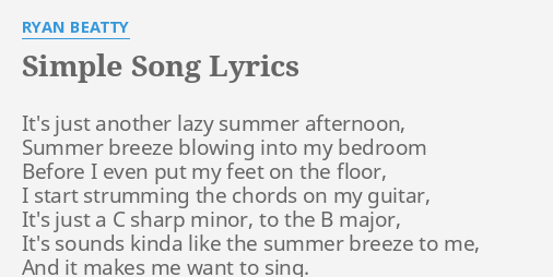 Simple Song Lyrics By Ryan Beatty Its Just Another Lazy