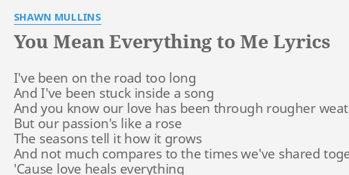 You Mean Everything To Me Lyrics By Shawn Mullins Ive Been On The