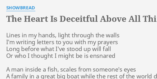 THE HEART IS DECEITFUL ABOVE ALL THINGS LYRICS By SEAD Lines In My Hands