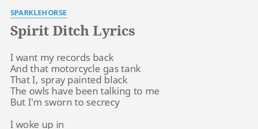 Spirit Ditch Lyrics By Sparklehorse I Want My Records