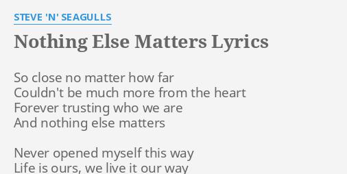 quotnothing else mattersquot lyrics by steve n seagulls so