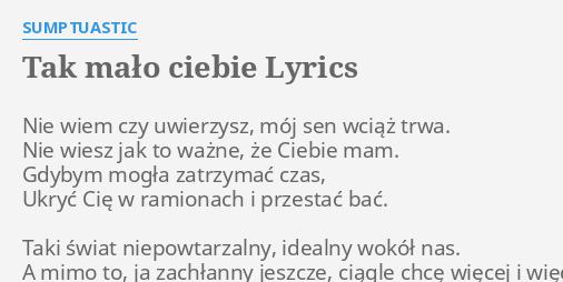 Sumptuastic To Dla Ciebie Tekst Piosenki Tlumaczenie I Teledysk