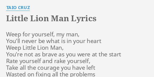 Little Lion Man Lyrics - Best Image and Description About Lion
