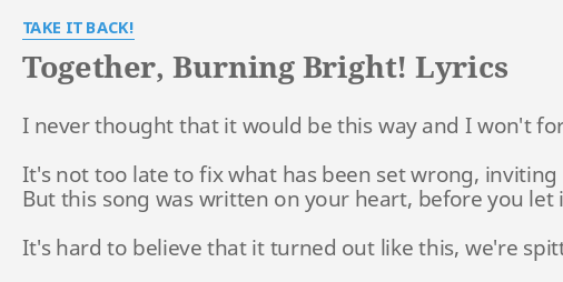 burning bright lyrics