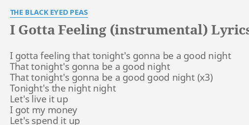 Its gonna be a good night lyrics