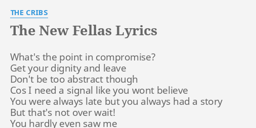 The New Fellas Lyrics By The Cribs What S The Point In