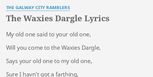 Waxies dargle lyrics