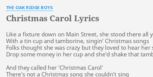 christmas carol lyrics by the oak ridge boys like a fixture down
