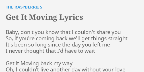 Your love is moving lyrics