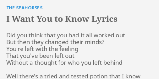 I want you to know lyrics by the seahorses did you think that i want you to know lyrics by the seahorses did you think that solutioingenieria Image collections