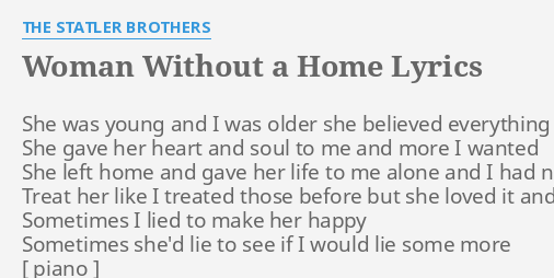WOMAN WITHOUT A HOME