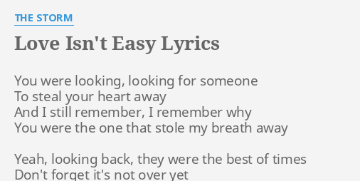 You Re Not Easy To Love Lyrics