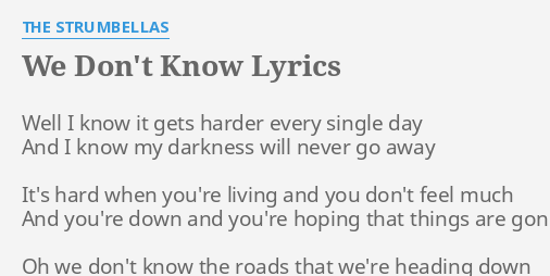we dont know lyrics