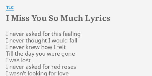 I Miss You So Much Lyrics By Tlc I Never Asked For