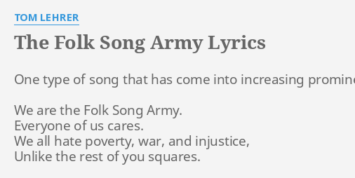 THE FOLK SONG ARMY